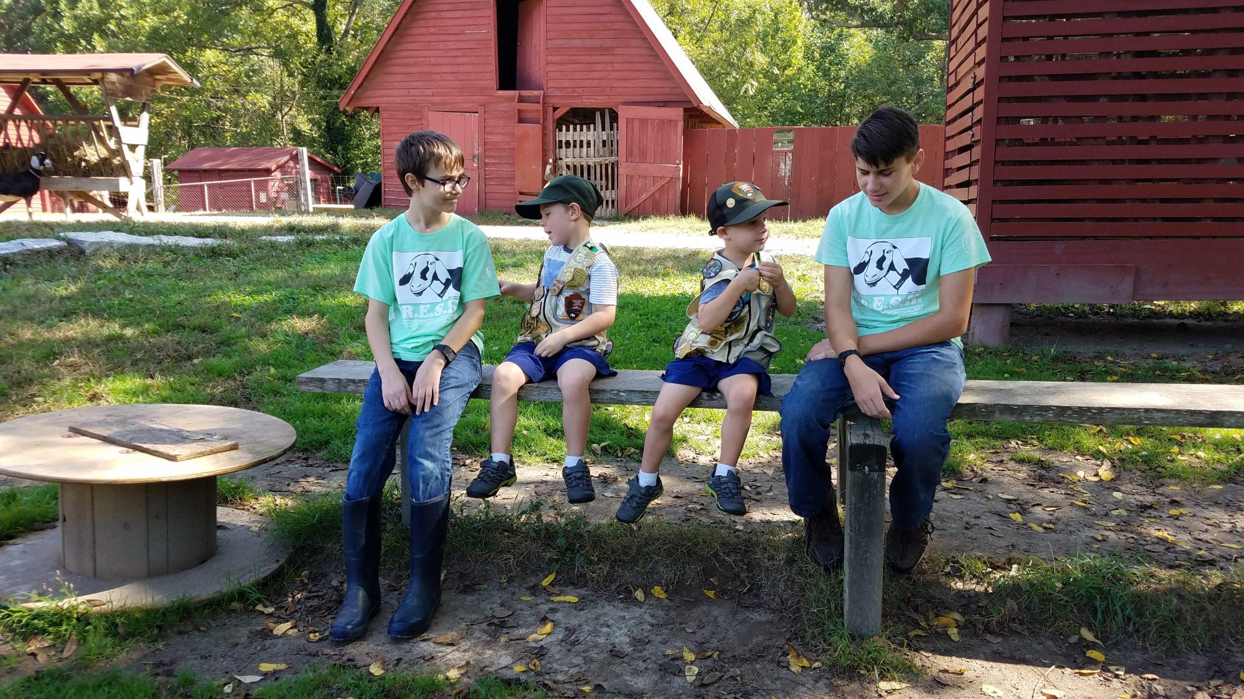 Carl Sandburg Home National Historic Site children at goat barn