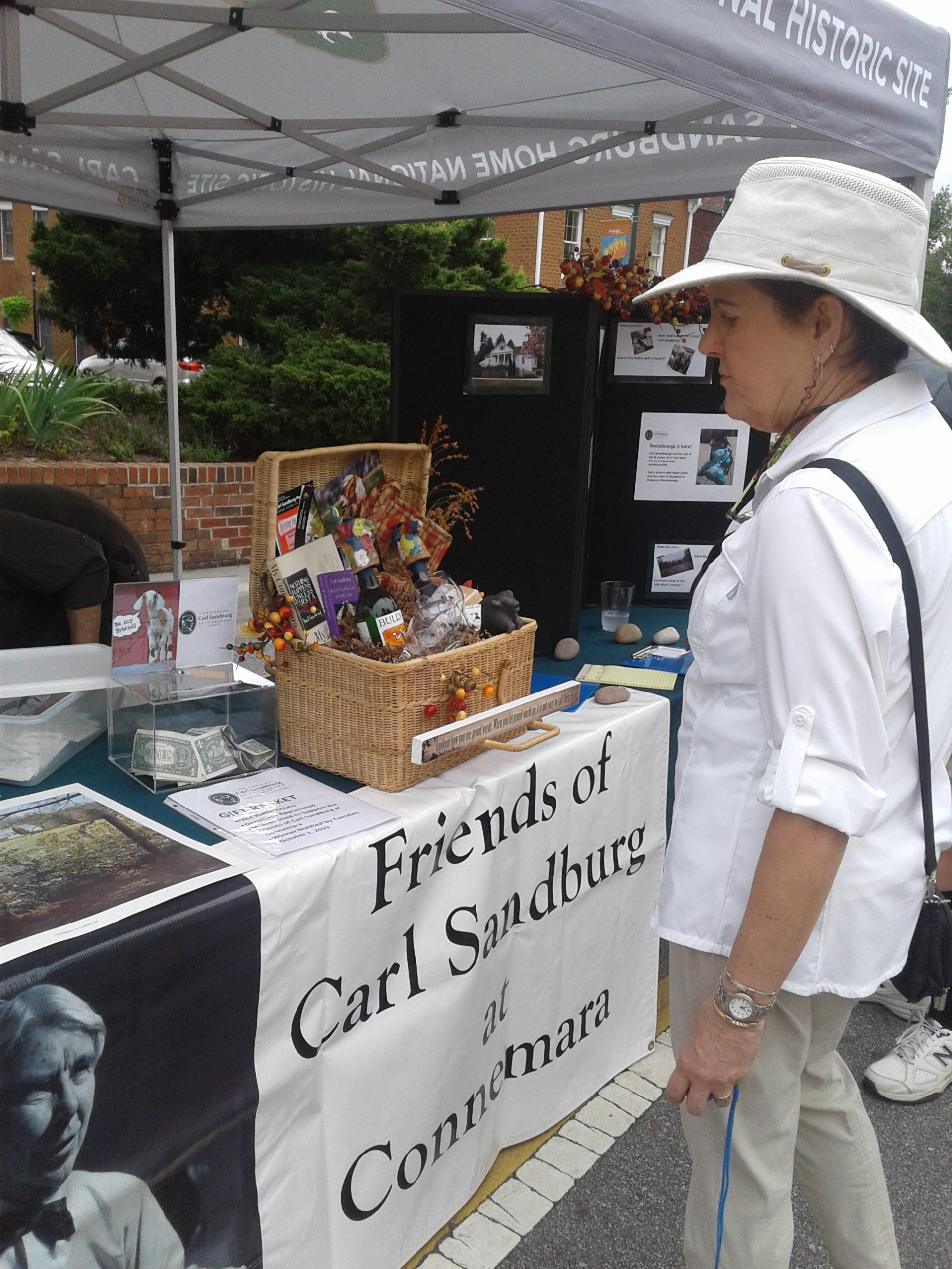 Friends of Carl Sandburg at Connemara, Inc. booth at Art on Main Hendersonville, NC