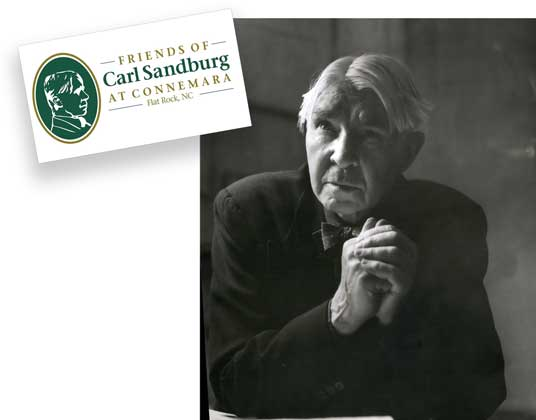 Carl Sandburg photo and FOCS logo