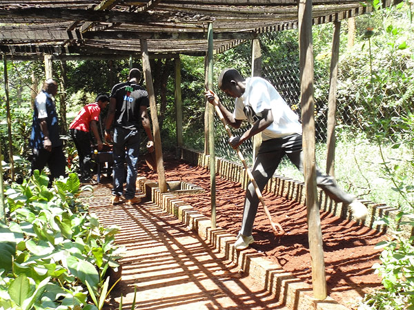 Mixing the soil and manure - Photo by cngarachu