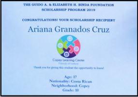 Binda Scholarship form