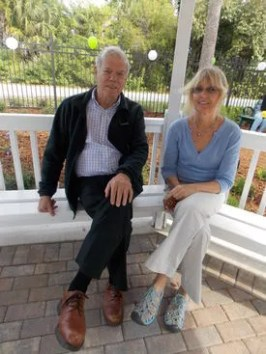 "Hal Roberts, who with his family, donated the gazebo in memory of Dr. Sylvia ""Sis"" Roberts, had an opportunity to enjoy the Grand Opening Ceremony of the Elsie Quirk Golden Reading Garden with neighbor Leslie Jones."