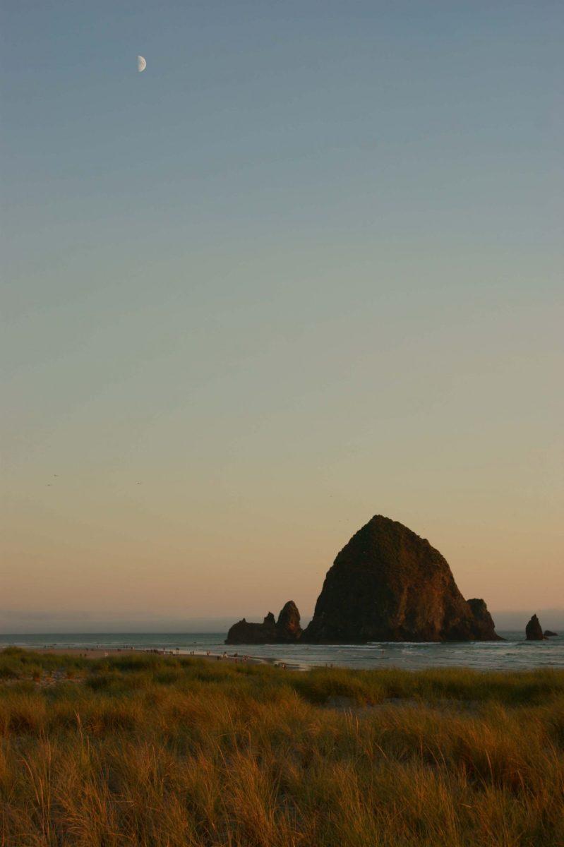 Haystack Rock and Half Moon