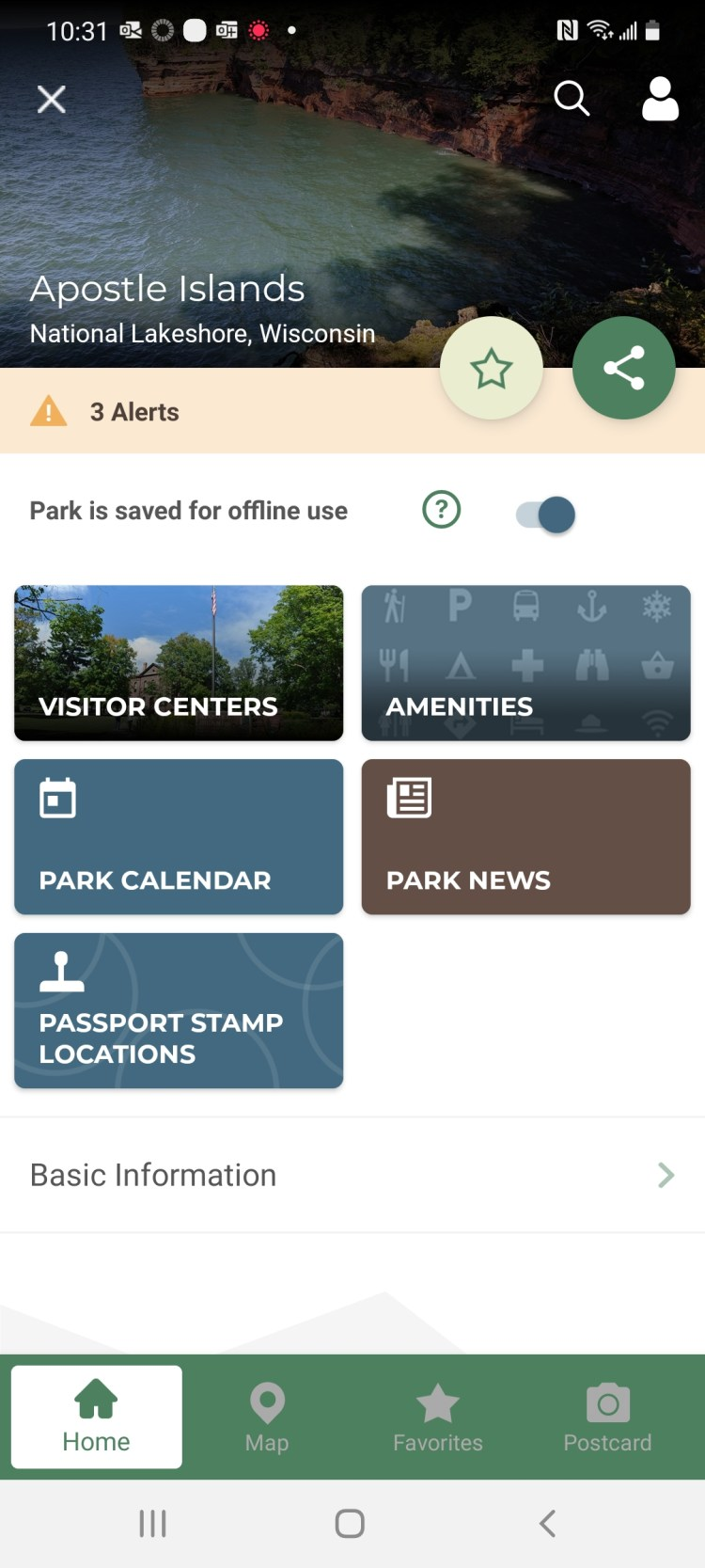 NPS app screen shot: Apostle Islands details