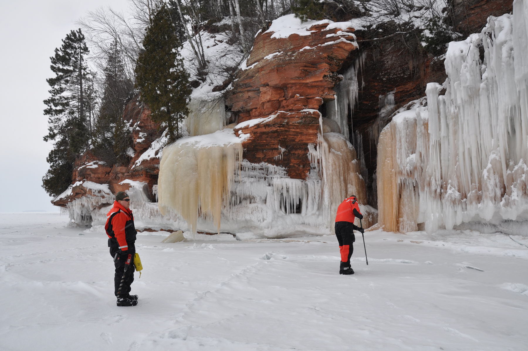 Jason (right) checking ice conditions at the ice caves