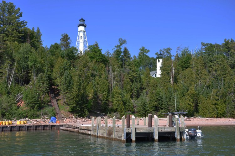 View of the light towers on Michigan Island from the lake