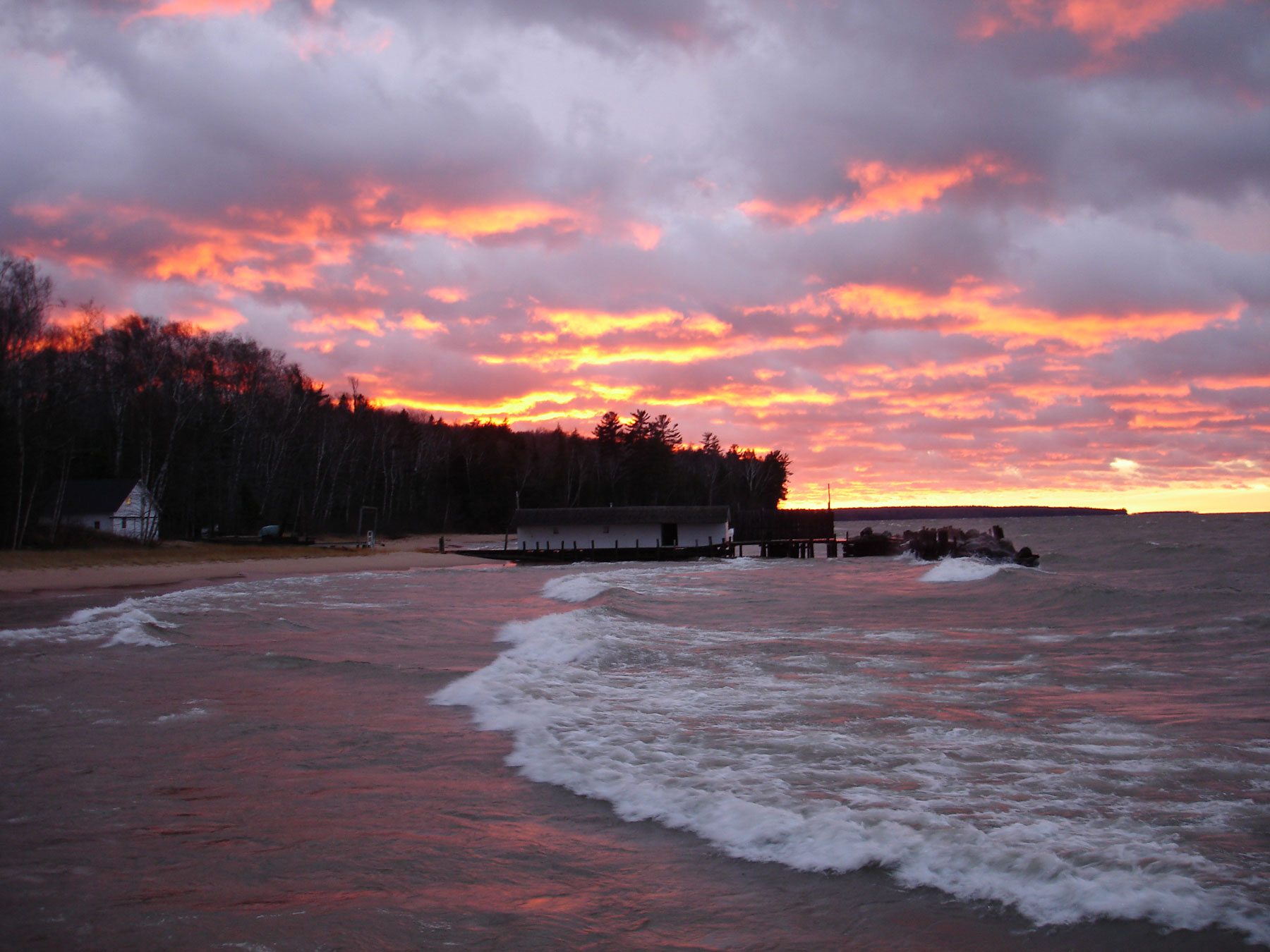 Sunset at the Hokenson Fishery dock in Little Sand Bay