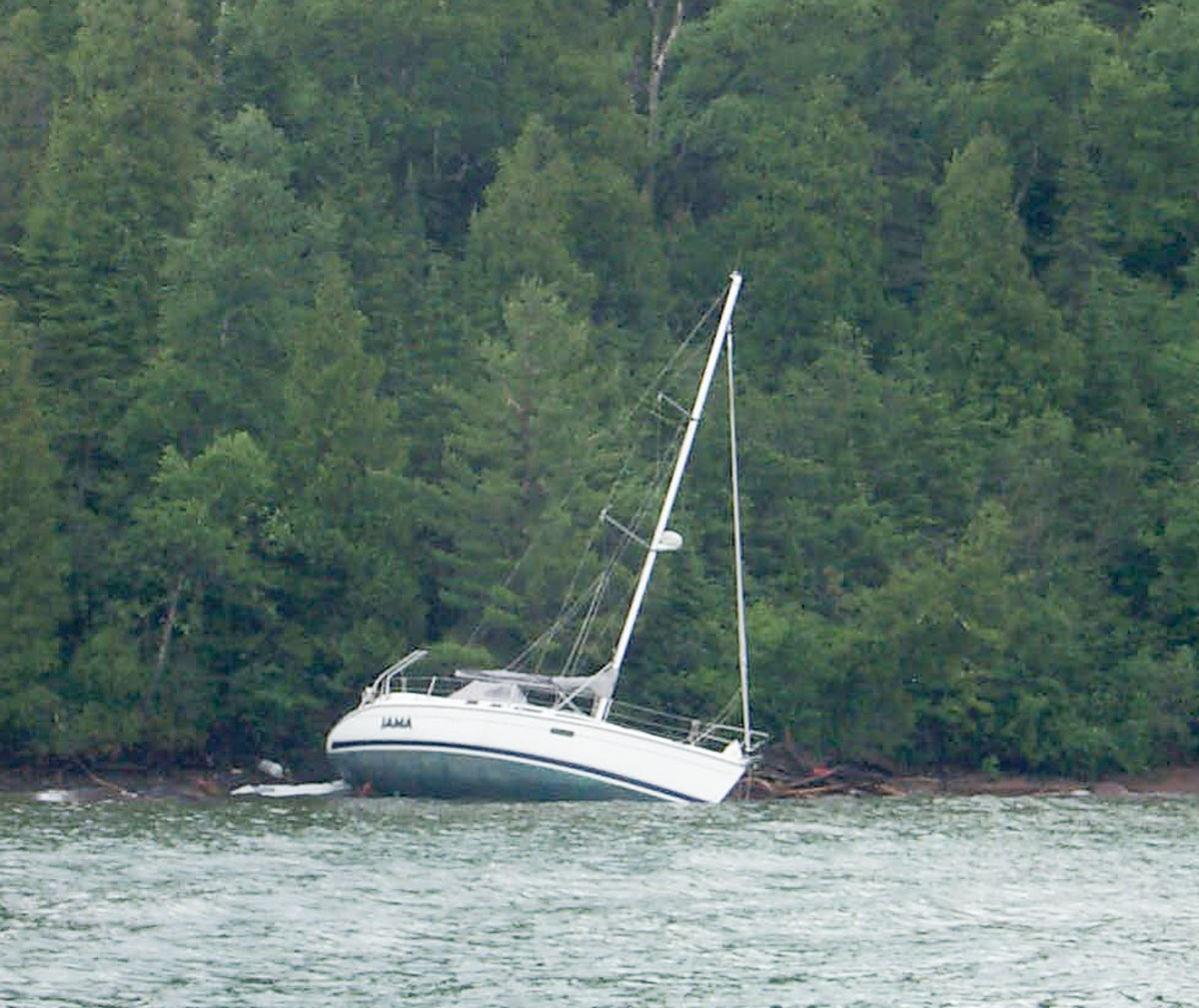 grounded sailboat in the Apostle Islands