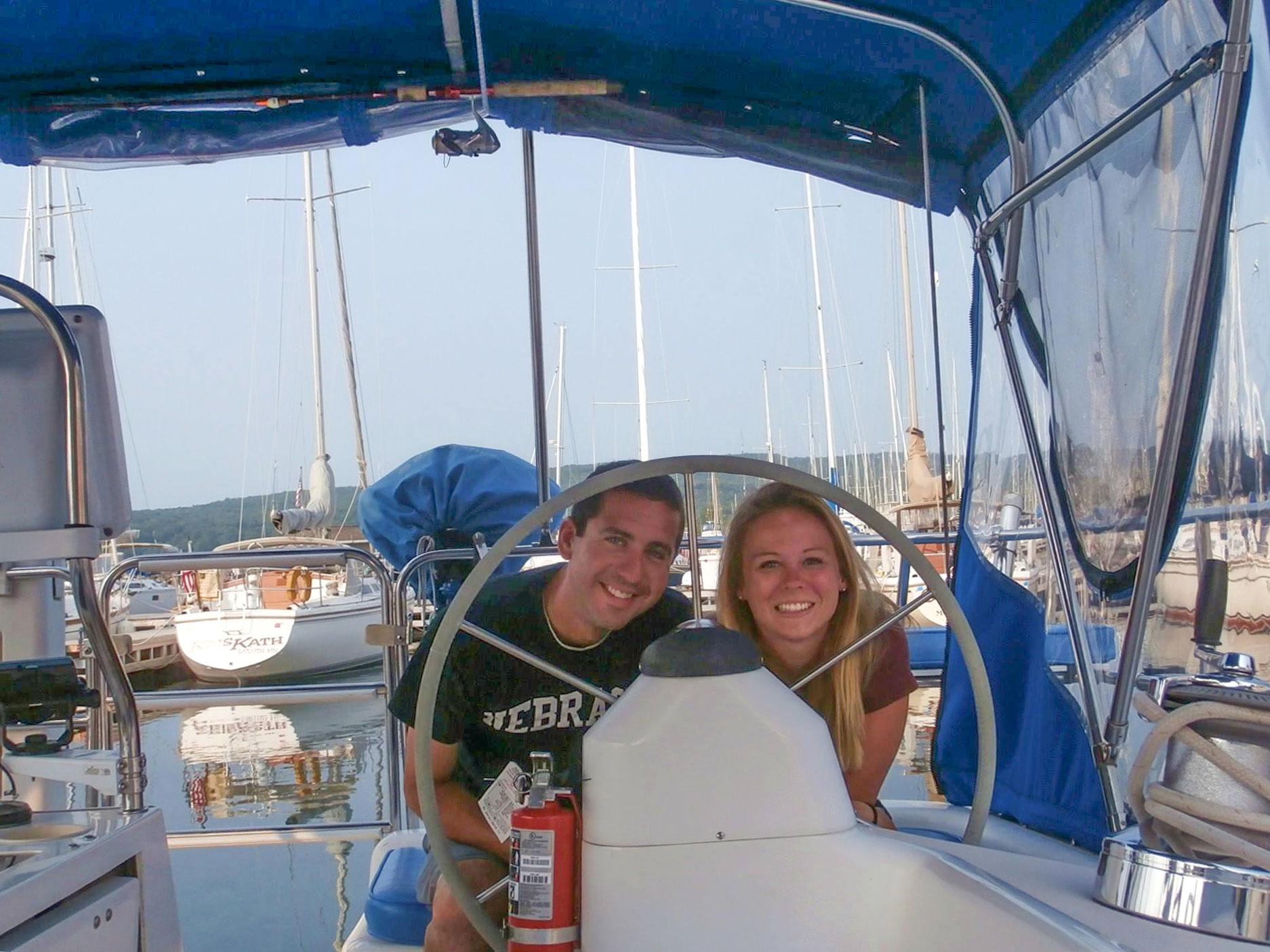 Josh Sweet and friend on sailboat
