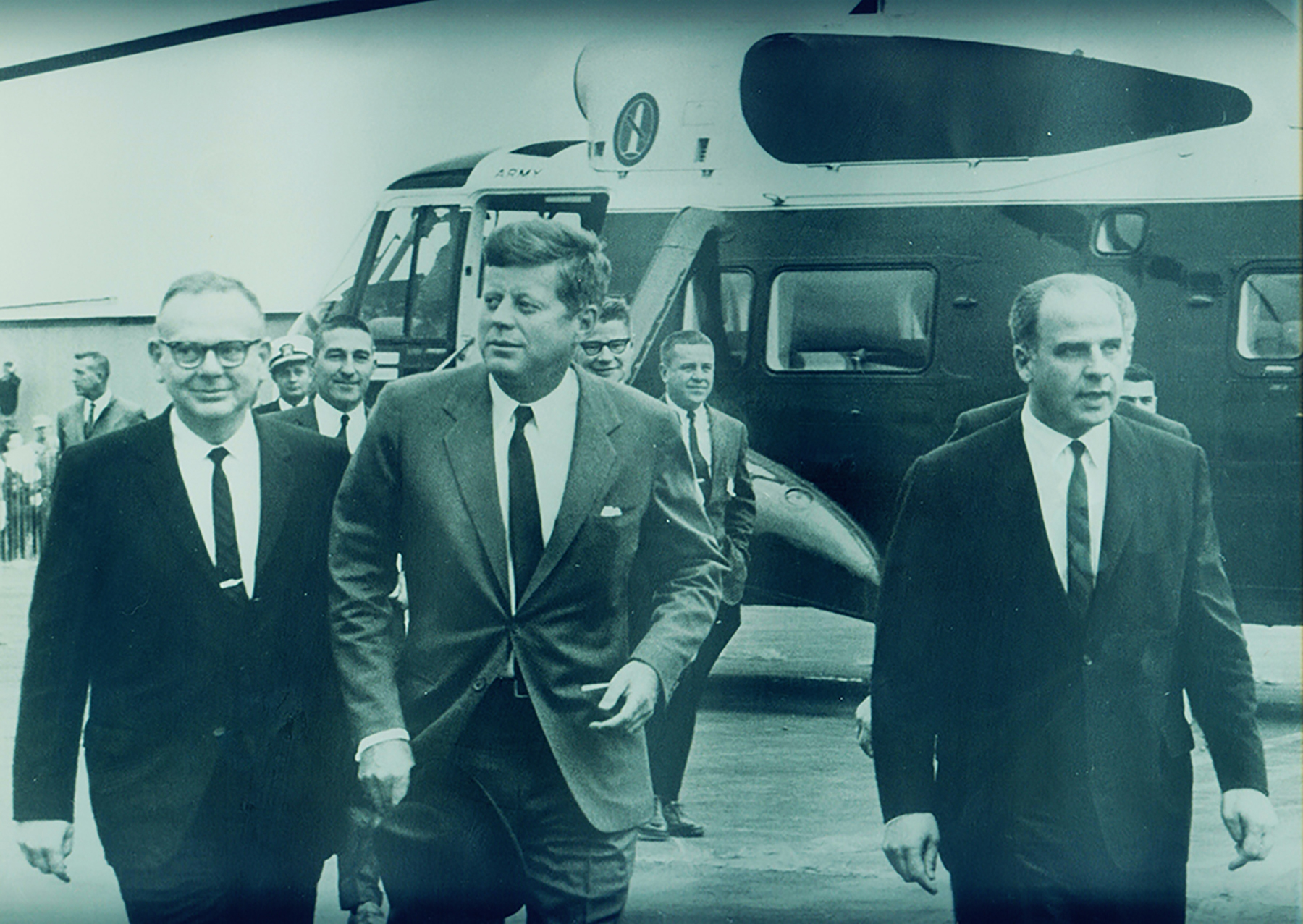 President Kennedy and Gaylord Nelson (right side of photo) at the Ashland, Wisconsin airport in 1963