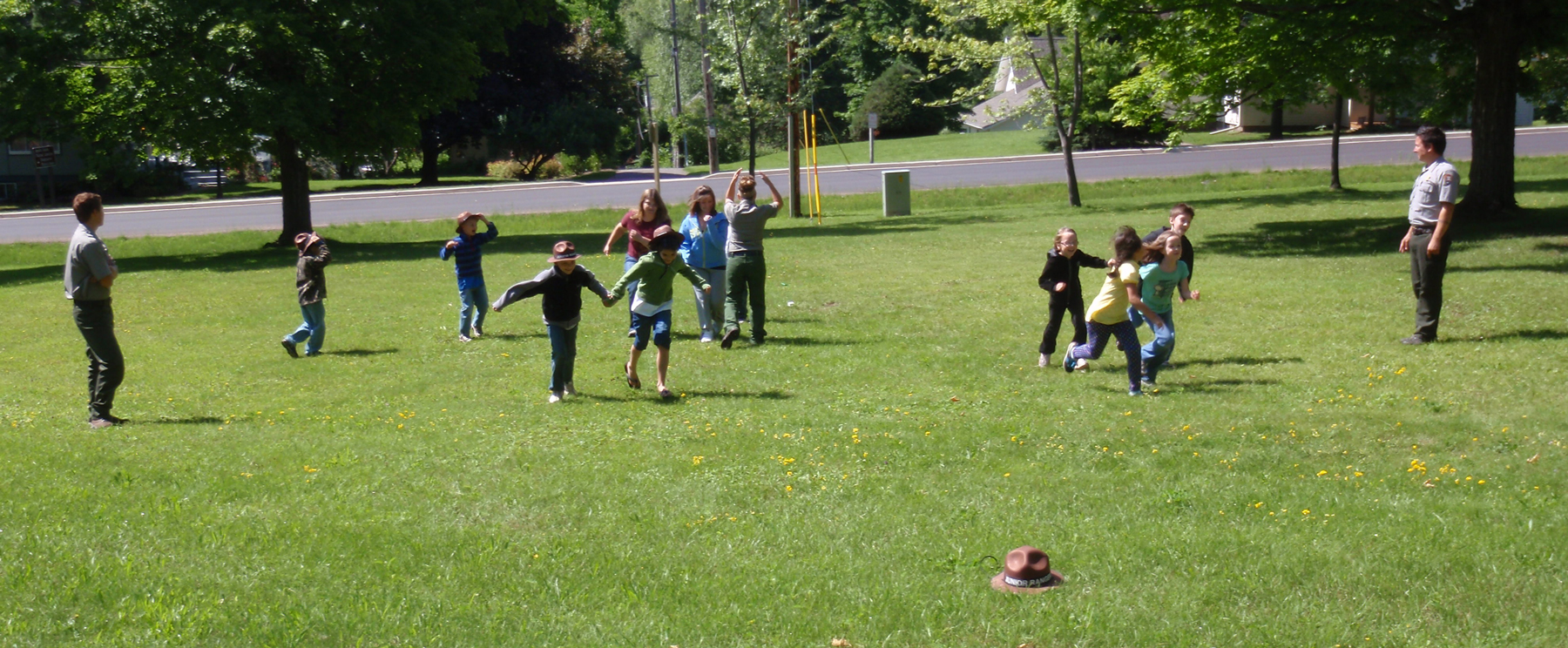 Conducting a junior ranger activity with students from the Bayfield summer school program