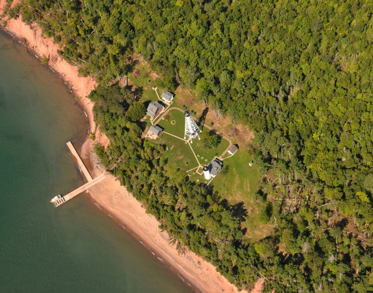Aerial view of downed trees around the Michigan Island light station
