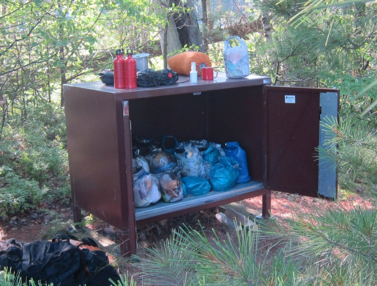 One of the bear lockers that Forrest carried to a campsite on Rocky Island