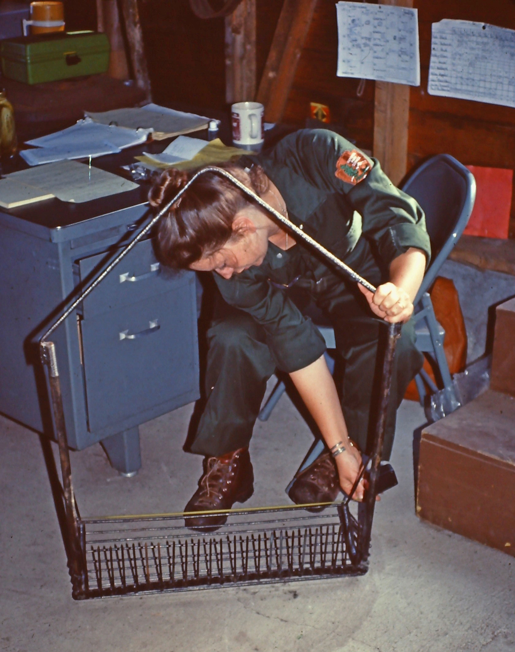"Susan inspecting the Hokenson ""field glass rake"""