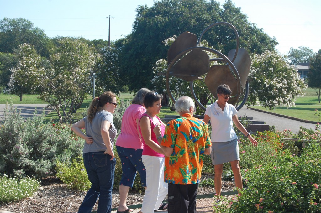 Master Gardener Judy Meagher shows the Bath House Butterfly Garden