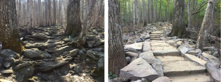 Rainbow Falls Trail - before & after