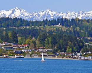 Olympic Mts Over Gig Harbor Entrance
