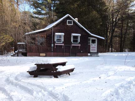 Civilian Conservation Corps building in snow