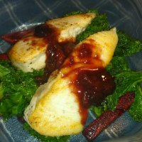 Halibut with berry sauce pic