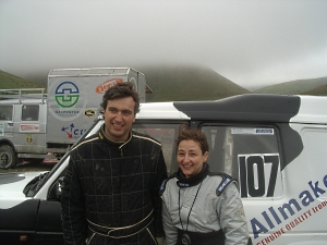 Henry and Sarah brave the elements at the end of the event, happy, butcold!