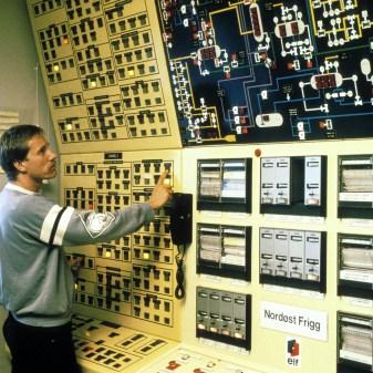 Kontrollrommet på Frigg QP. Her var også kontrolltavlen for Nordøst Frigg.