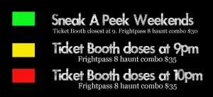 Frightland Haunted Attractions Calendar Legend 2015