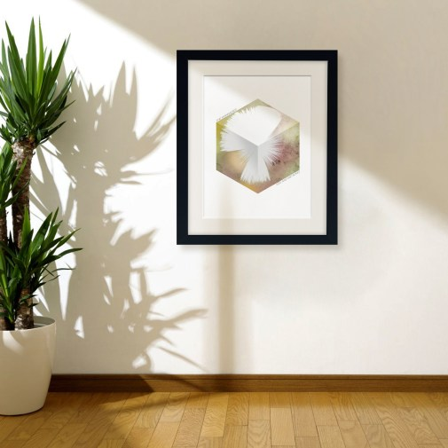 Hex Cube Print Framed and displayed