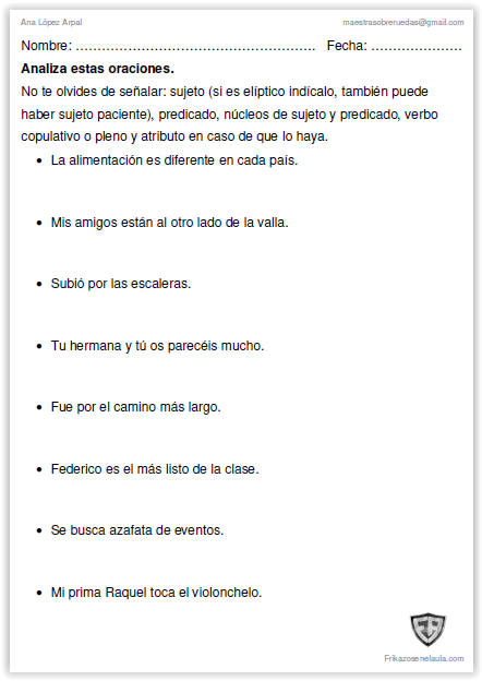 Fichas Trabajo Aula Lengua Frikazos En El Aula