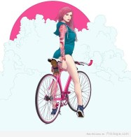 Pin-Ups-and-Bicycles-illustrations-by-Halfanese-2