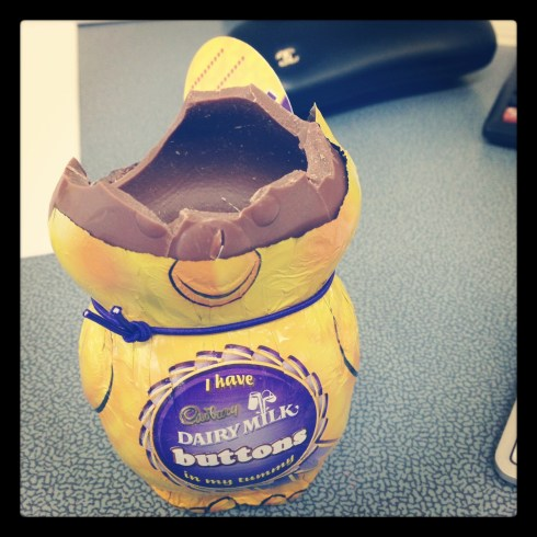 This Easter chickie bravely gave his chirpy little life to satisfy my chocolate cravings. God bless you son.