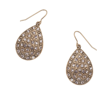 Gold pave teardrop earrings - £8