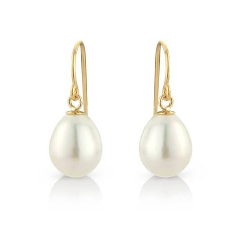 Teardrop pearl earrings on 10ct gold fill hook - £42