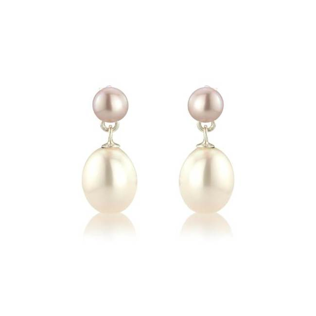 Pink & white pearl on pearl drop earrings - £52
