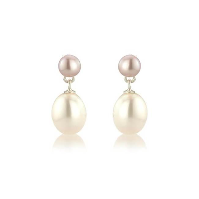 Pink & white pearl on pearl drop earrings - £52