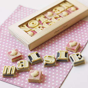 notonthehighstreet.com Personalised chocolate shapes and letters - £12