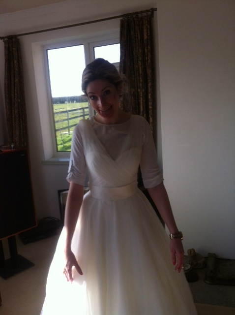 Trying my hardest not to look like a mental person who takes any opportunity to sit around in their wedding dress!!
