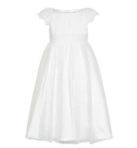 John Lewis ivory and lace flower girl dress