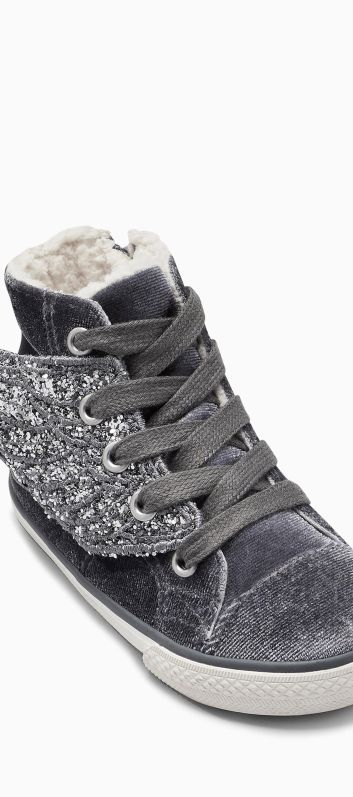 Next grey silver wing high tops