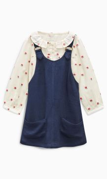 Next navy pinafore and blouse set