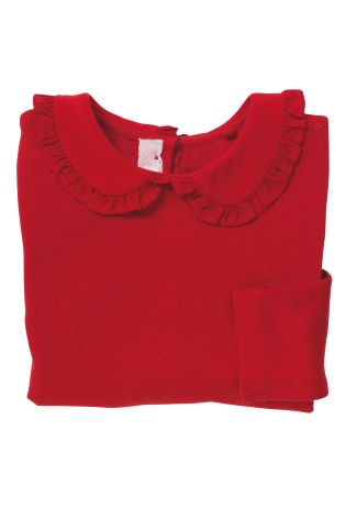 Next red pointelle top
