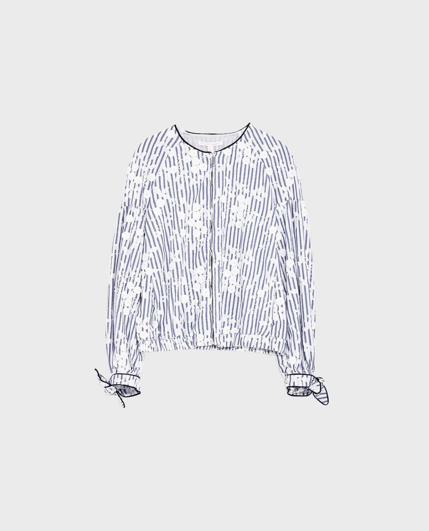 Zara striped and emroidered jacket