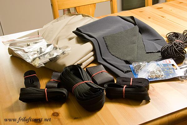 Utstyr for å sy vinterjakke.