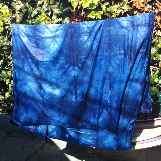 indigo clamp dyed cotton
