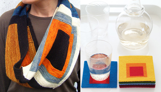 albers cowl and color theory coasters