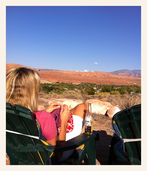 johanna knitting in moab