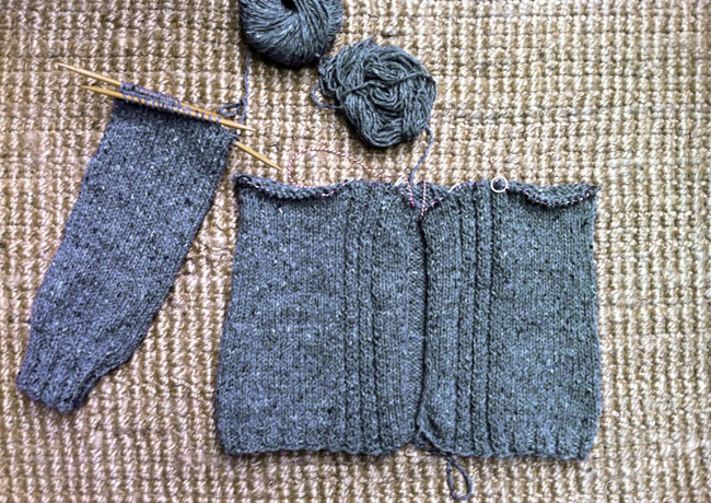 walpole chunky cardigan knitting in progress