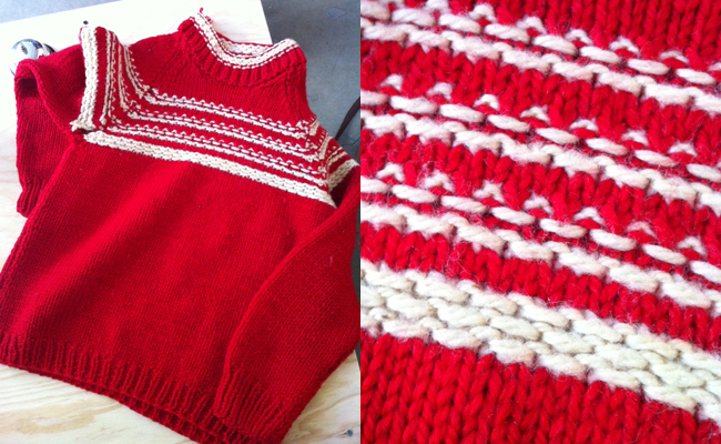 marion brenner's first knitted sweater