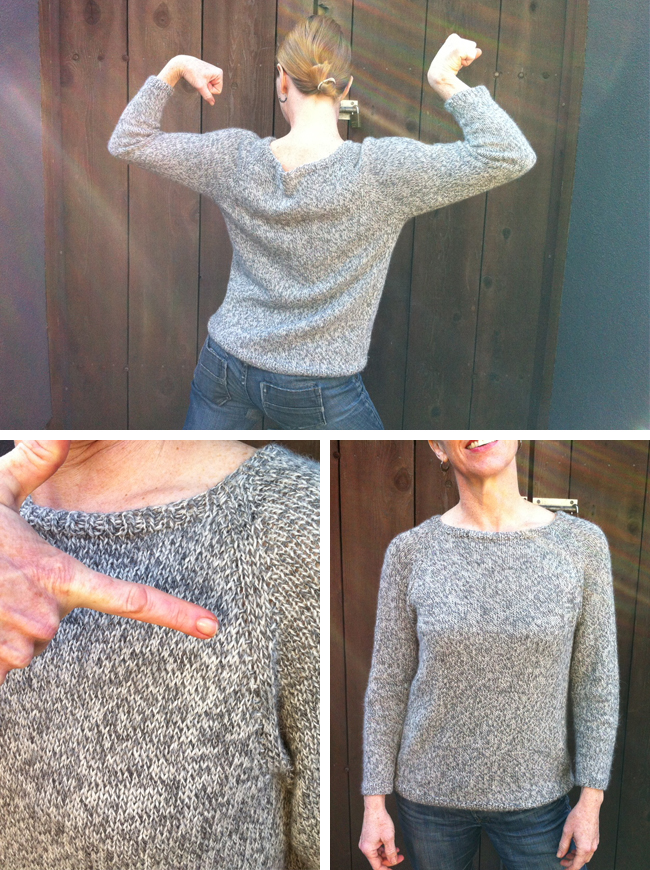 improvised top-down pullover knitting