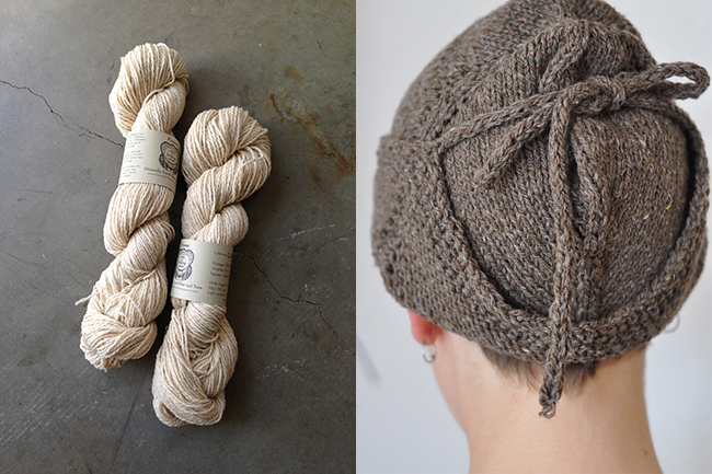 Pioneer yarn skeins and hat sample