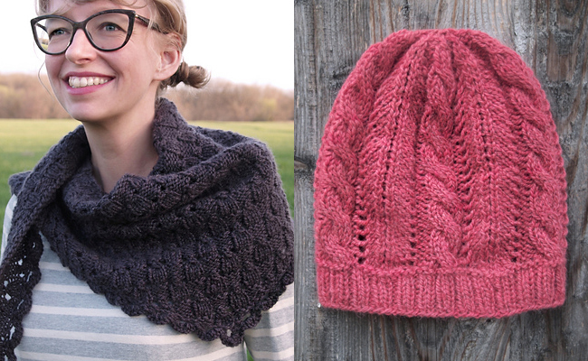 Fancy Tiger Imposter's Shawl and Radish Hat knitting patterns